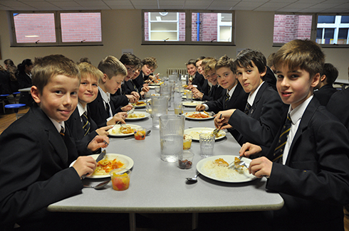 HCS pupils eating lunch