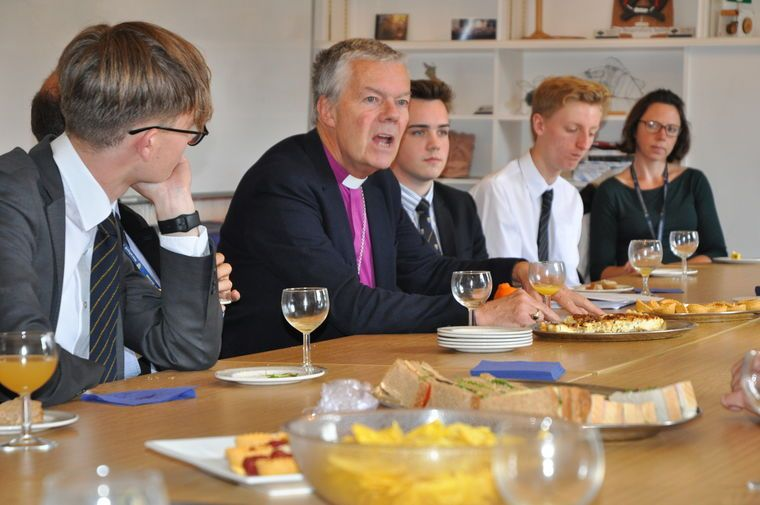 Bishop joins Sixth Form for lunch