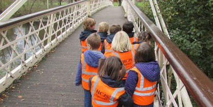 Nursery children on the Victoria Bridge