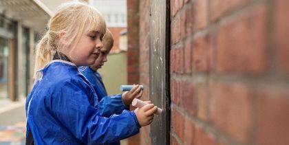 children writing with chalk
