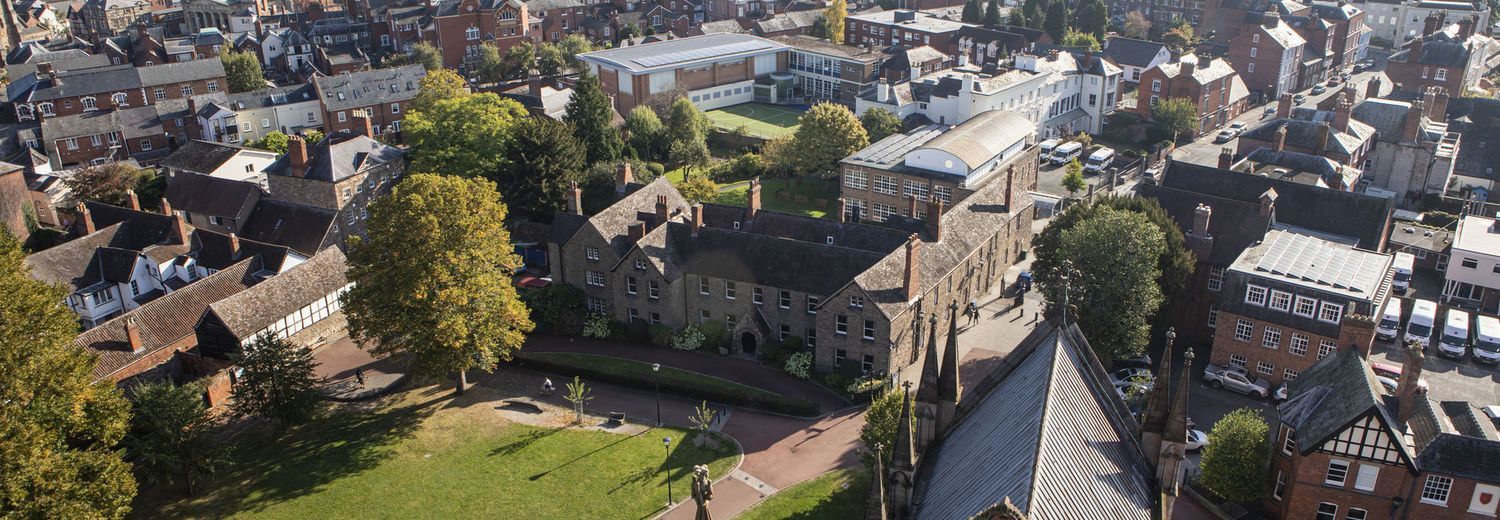 Aerial view of Hereford Cathedral School