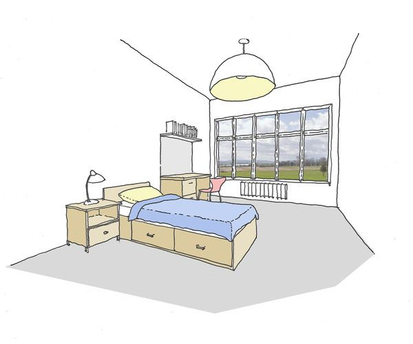 Artist's impression of a room at How Caple Grange