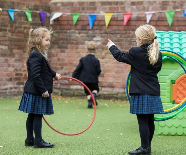 children playing with hoops