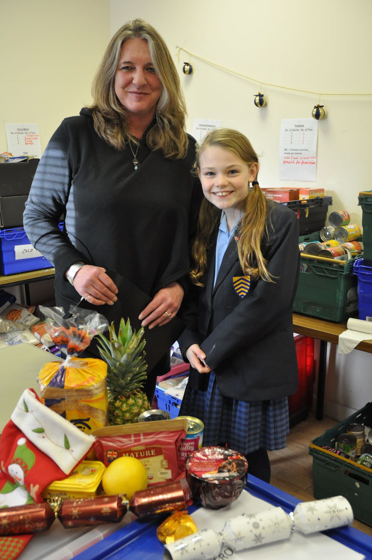 Madeleine with Hereford Food Bank Manager Jacquie Alsop